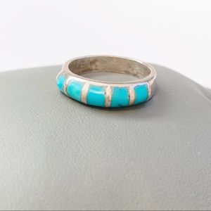 Native American Sleeping Beauty Turquoise Ring VTG